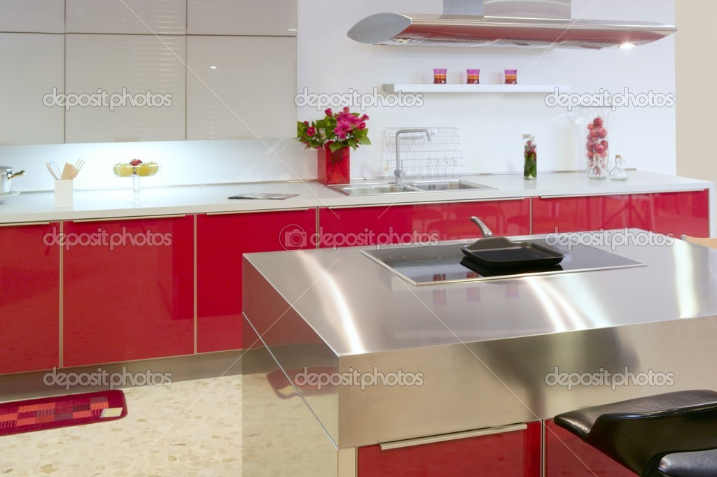 Red island kitchen silver modern interior house architecture — Stock Photo #5510890
