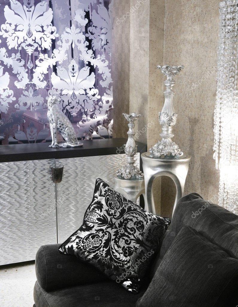 Möbel för vardagsrum coach svart soffa silver — stockfotografi ...