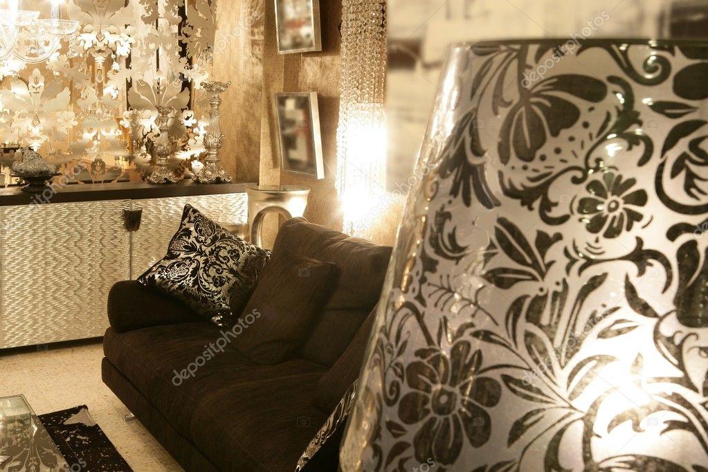 Living Room Coach Black Sofa Silver Furniture Stock