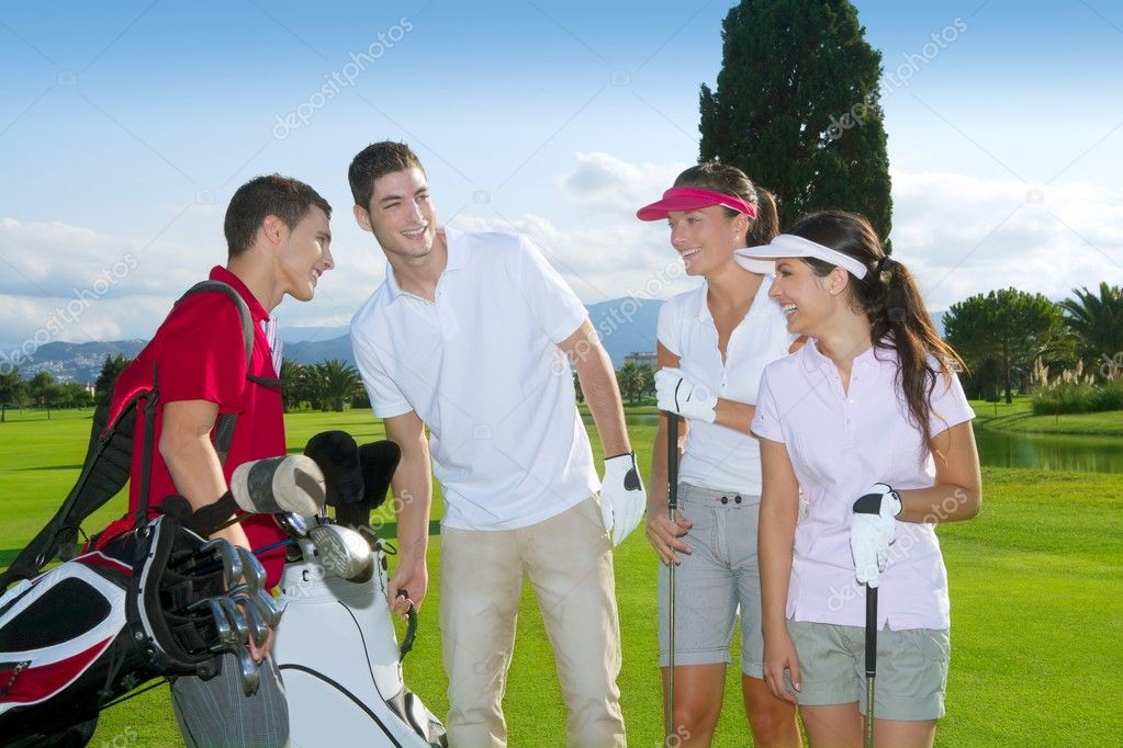Golf course group young players team grass field — Stock Photo #5511570