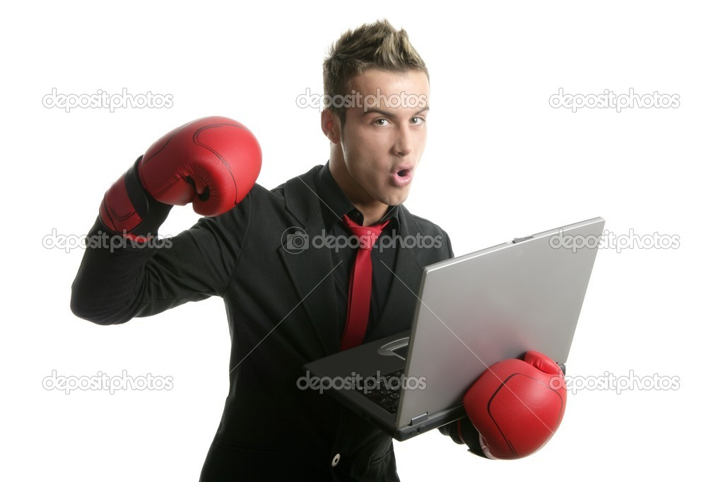 Boxer young businessman with laptop isolated on white — Stock Photo #5511887