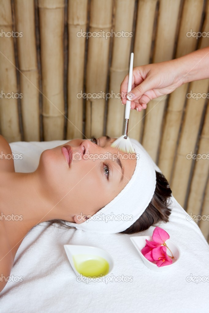 Spa beauty facial treatment oil brush and bouganvillea flowers  Stock Photo #5512461