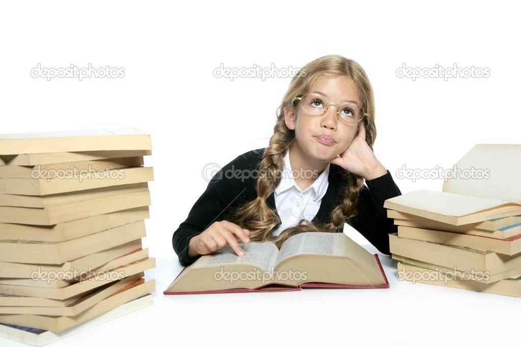 Little thinking student blond braided girl with glasses smiling stacked books on white background — Stock Photo #5512534