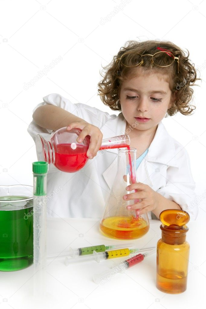 Girl pretending to be doctor in the laboratory — Stock Photo #5512819