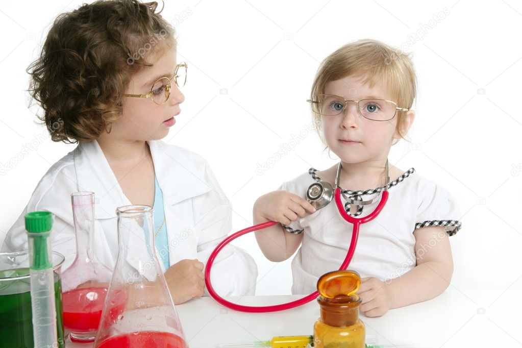 Two girls pretending to be doctor in the laboratory — Stock Photo #5512822