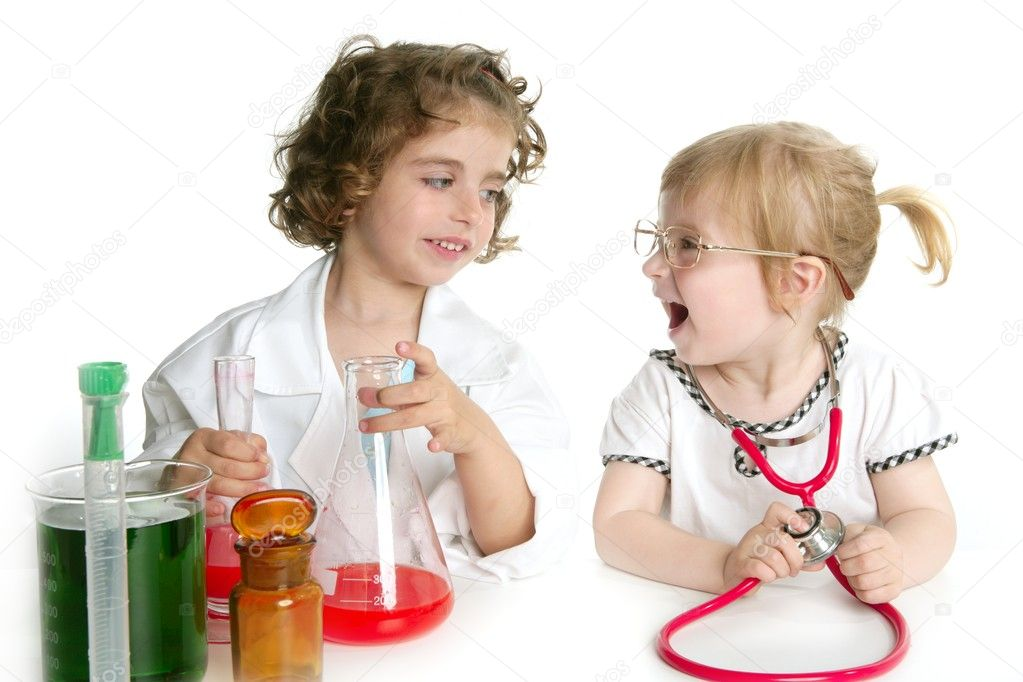 Two girls pretending to be doctor in the laboratory — Stock Photo #5512831