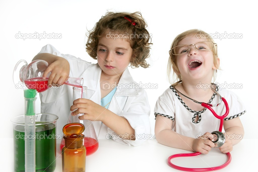Two girls pretending to be doctor in the laboratory — Stock Photo #5513189
