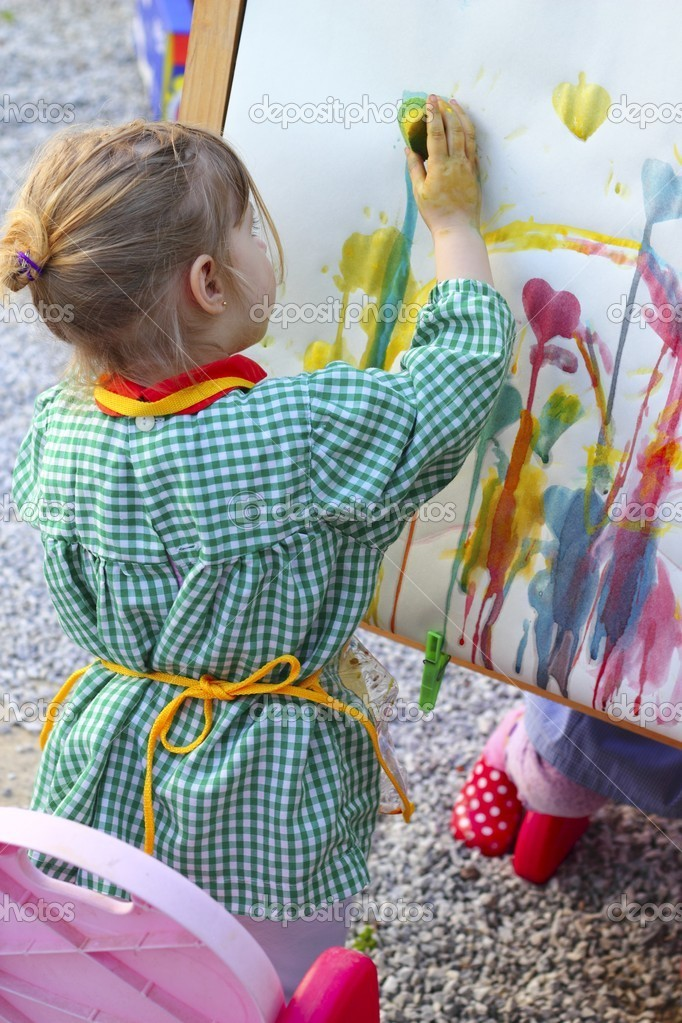 Artist little girl children learning artwork painting abstract colorful picture    Stock Photo #5513927