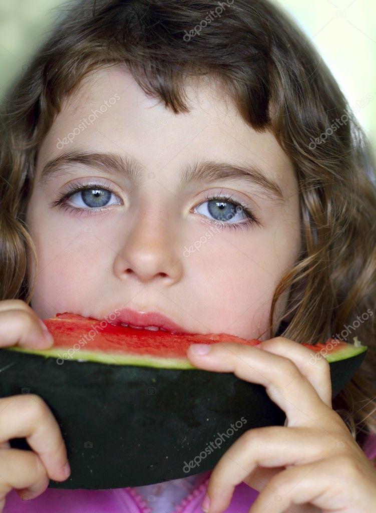 watermelon girl pics. Closeup little girl portrait
