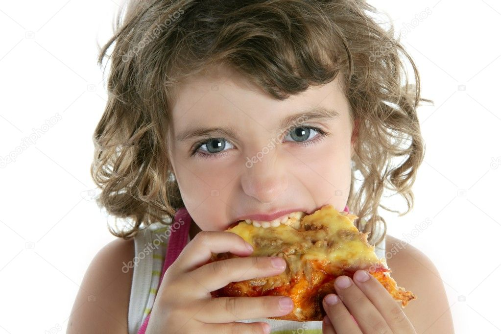 Little girl eating hungry pizza closeup portrait face detail — Stock Photo #5514097
