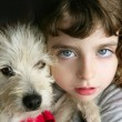 Stock Photo: Dog puppy pet and girl hug portrait closeup blue eyes