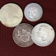 Eighteenth and nineteenth century spain old coins - Stock Photo