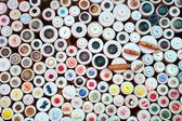 Buttons in haberdashery retail shop colorful pattern — Stock Photo