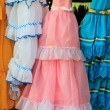 Costumes gypsy ruffle dress andalusian Spain — Lizenzfreies Foto