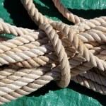 Marine klar weiß verwendet Seil über grüne — Stockfoto