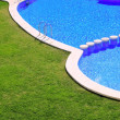 Stock Photo: Blue tiles swimming pool with green grass garden