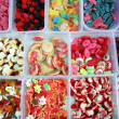 Candy colorful sweets jelly in boxes pattern - Stock Photo