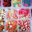 Candy colorful sweets jelly in boxes pattern — Stock Photo