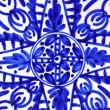 Ceramics painted blue shapes plate - Stock Photo