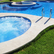 Blue jet spa pool in green grass garden — Stock Photo #5562233