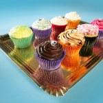 cupcakes renkli krem kurabiye aranjmanı — Stok fotoğraf