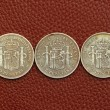 Five pesetas spain old coins Alfonso XII Carlos III — Stock Photo