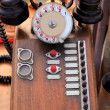 Antique vintage wooden french PBX telephone - Stock Photo