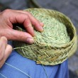 Craftsman sewing basket esparto grass weaver — Stock Photo