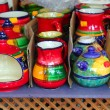 Colorful ceramics pottery painted vivid color clay — Stock Photo