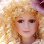 Antique old blond porcelain doll face protrait — Stock Photo