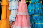 Costumes gypsy ruffle dress andalusian Spain — Stock Photo