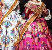 Falleras costume fallas dress detail from Valencia — Stock Photo