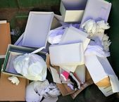 Cardboard and paper garbage trash container — Stock Photo