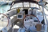 Double wheel sailboat stern deck area moored — Stock Photo