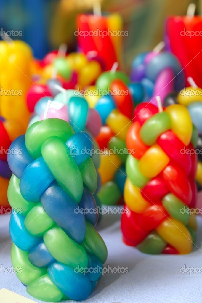 Colorful braided candles handcraft texture pattern vivid colors — Stock fotografie #5569621