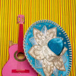 Mariachi embroidery mexican hat pink guitar - Stock Photo
