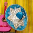Mariachi embroidery mexican hat pink guitar — Foto de Stock
