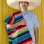 Постер, плакат: Mexican man serape poncho hat sombrero