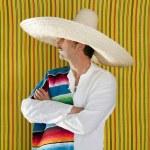 chemise de portrait sombrero mexicain moustache homme — Photo