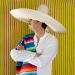 mexikanische Schnurrbart Mann Sombrero Porträt shirt — Stockfoto