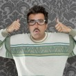 Nerd pensive silly man ok gesture retro glasses — Foto Stock #5600321