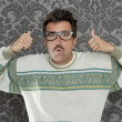 Stock Photo: Nerd pensive silly mok gesture retro glasses