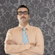 Businessman nerd portrait retro glasses wallpaper - Stok fotoğraf