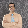 Businessman nerd portrait retro glasses wallpaper - Stock Photo