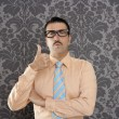 Nerd retro man businessman ok positive hand gesture — Stock Photo #5600337