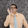 Nerd retro man businessman ok positive hand gesture - Stock Photo