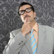 Royalty-Free Stock Photo: Nerd businessman pensive gesture silly funny retro