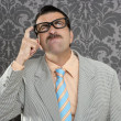 Nerd businessman pensive gesture silly funny retro — Foto de Stock