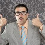 Nerd retro man businessman ok positive hand gesture — Stock Photo