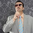 Nerd businessman pensive gesture silly funny retro - Stock Photo